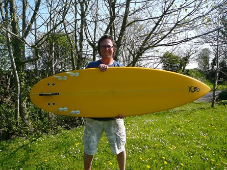 "5 fin bonzer with Kai Sallas 7"" rear"