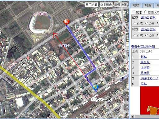 斗六-棒球場的路線圖