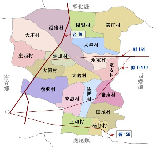 二崙鄉地圖