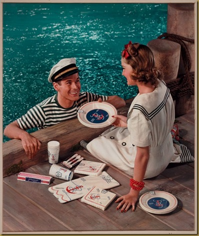 Turquoise-Nautical-1950s-PAPER-PLATE-AD-COUPLE-AT-DOCK