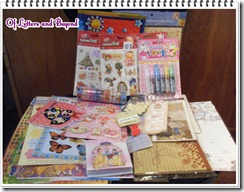 swap-bot, note pads, stickers, letter sets, deco tapes, glitter glue, letter pads,