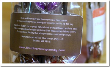 closeup of label on bag of lollipops