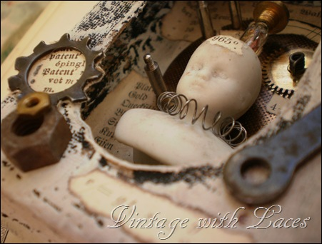 Soap Box turned into Steampunk Assemblage by Vintage with Laces