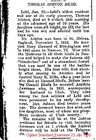 Ashton Thomas Obituary 23 Jan 1903