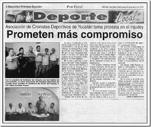 Nota Por Esto - toma de protesta ACRODEY 25-01-2003