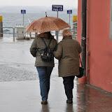 Meersburg Hafen im Regen