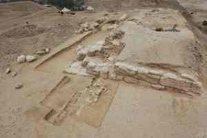 Photo courtesy Dr. Michel Baud. The mastaba where the portrait of the owner was found. Little of it is left standing.