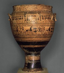 This three-foot-high Iron Age gravemarker is in the form of a mixing vessel (water and wine) used at symposia. It signals the importance of the symposia in Athenian society. People wanted to be remembered for their ability to sponsor these gatherings. [Credit: The Metropolitan Museum of Art]
