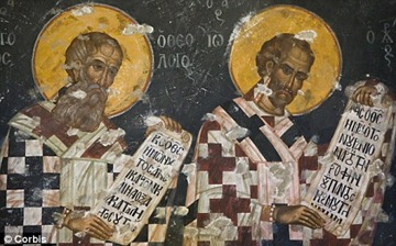 Biblical link: A wall painting in the Monastery shows the island's link with St John.