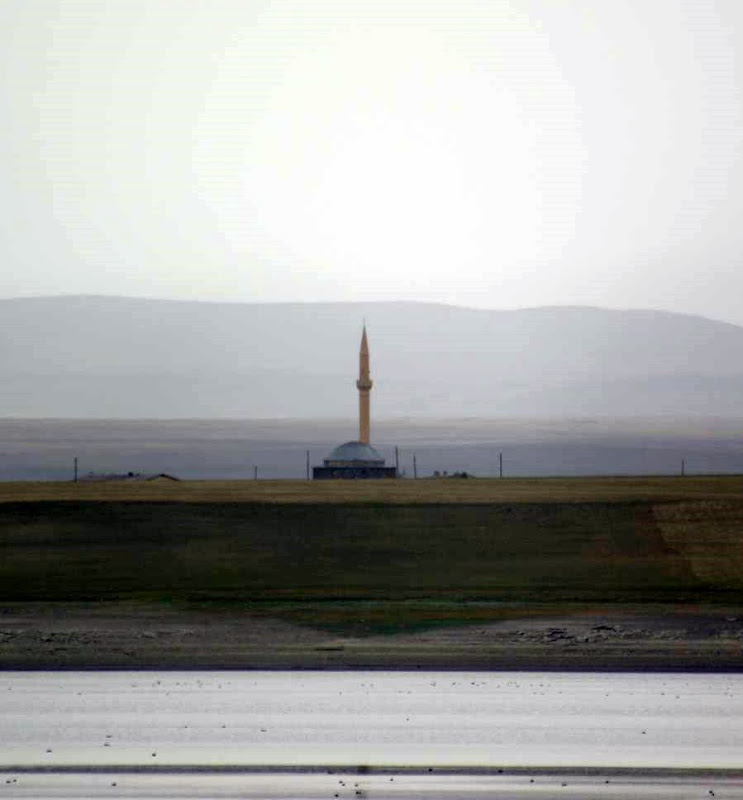 A Turkish Mosque on the other side of Arpacay Reservoir