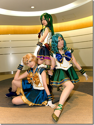 sailor moon musical cosplay - sailor uranus, sailor pluto, and sailor neptune