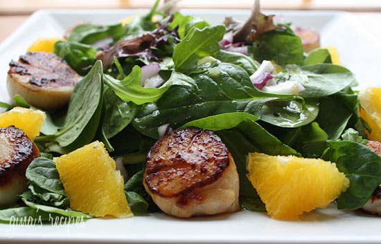 Pan Seared Scallops with Baby Greens and Citrus Mojo Vinaigrette