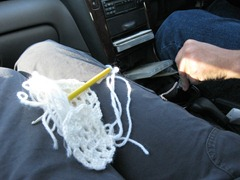 fixing granny squares in the car