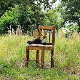 Rustic Chair and Boots by Keith Bass - Artistic Objects Furniture ( field, chair, arkansas photographer, wooden, wooden chair, chairs, rustic chair, boots, arkansas, Chair, Chairs, Sitting )