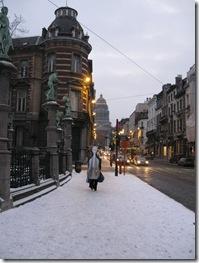 Iarna la Bruxelles. Cu contrabasul prin ninsoare