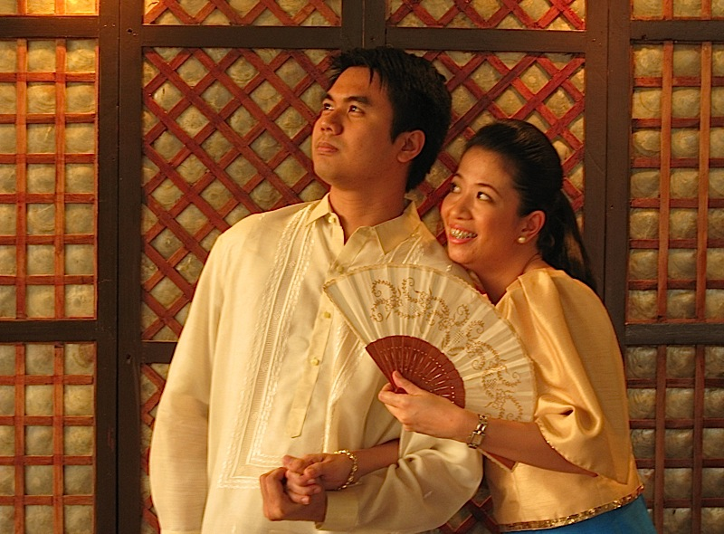 Nico and Tonette hamming it up in Filipiniana attire