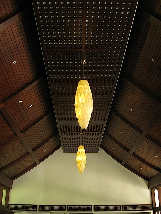 wooden ceiling of Bamboo Cafe at Anvaya Cove Beach and Nature Club