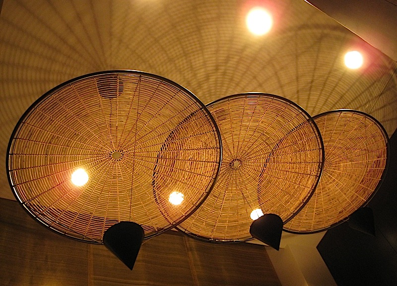 bamboo lighting fixtures at the stairwell of Sofitel Manila's Le Spa