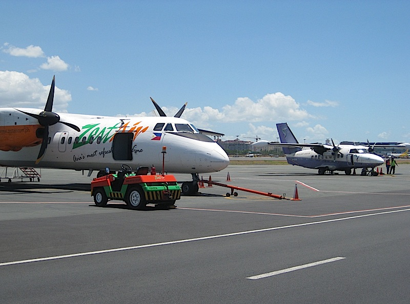 planes of ZestAir and Seair at the Manila Domestic Airport