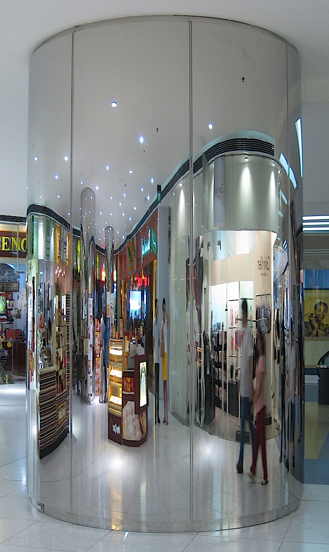 mirrored pillar at The Podium
