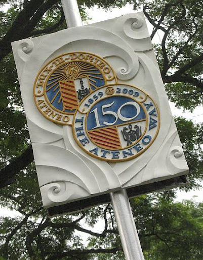lamp post decoration of the Ateneo de Manila University with the Sesquicentennial tandem seals