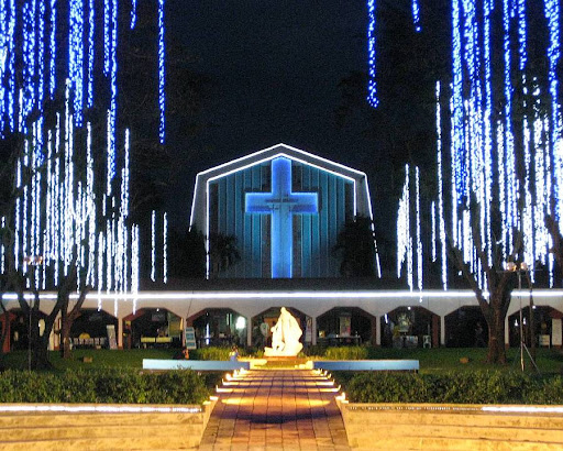 The Promenade of Our Lady and St. Stanislaus Kostka Chapel at the Ateneo de Manila High School at night