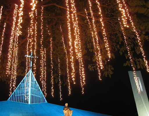 Ateneo Church of the Gesù with Christmas lights