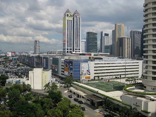 Ortigas Center skyline with SM Megamall and Edsa Shangri-la hotel in the foreground