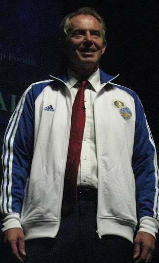 Tony Blair wearing an Ateneo de Manila University jacket