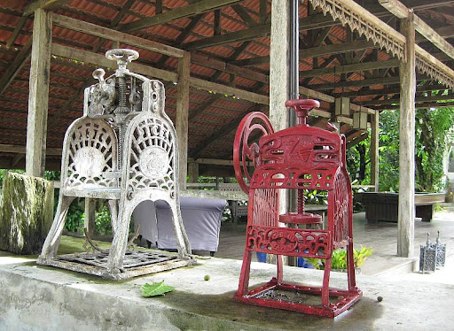 free-standing patio with billiard table and antique ice-shavers in Hacienda Isabella in Indang, Cavite