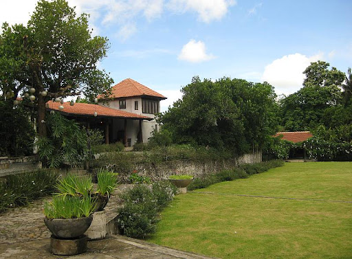 view of the lawn from the veranda of the main house of Hacienda Isabella in Indang, Cavite