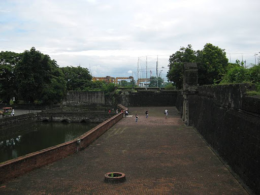 moat and walls of Fort Santiago in Intramuros, Manila