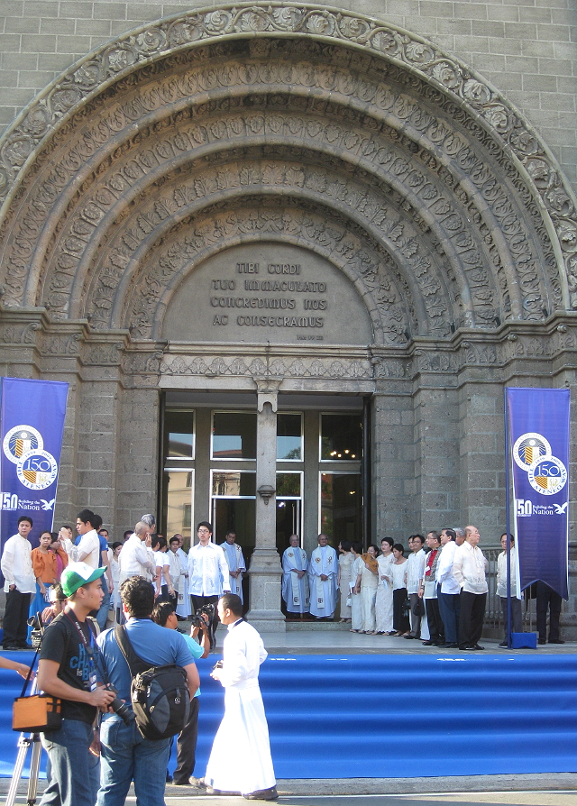 facade of the Manila Cathedral decorated for the 150th anniversary of the Ateneo de Manila