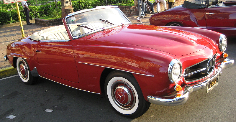 red convertible Mercedes Benz 190 SL
