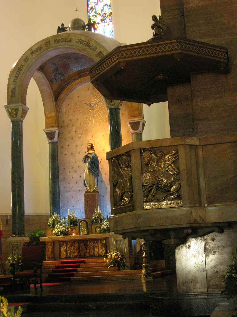 pulpit and shrine of the Immaculate Conception inside the Manila Cathedral