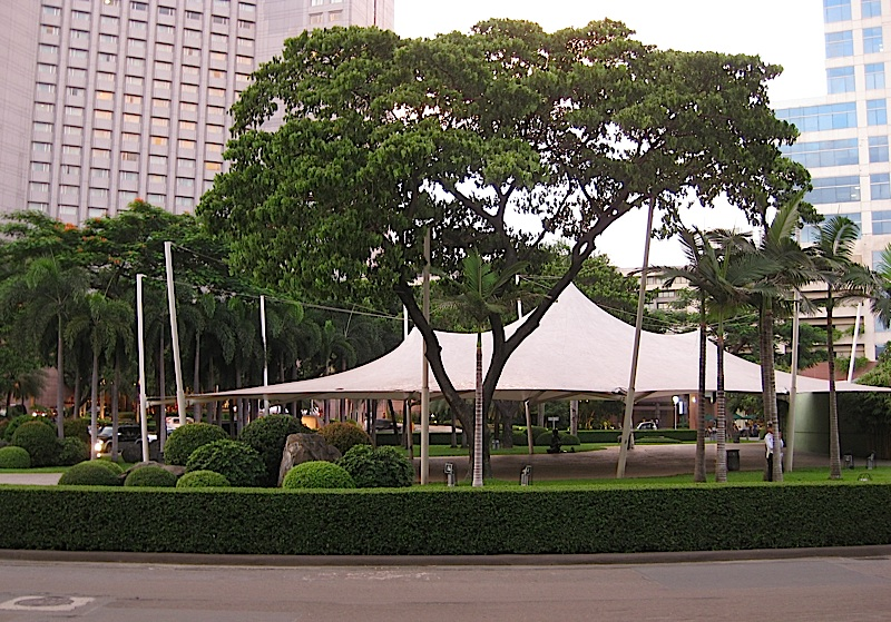 landscaped park inside the Ayala Commercial Center roundabout