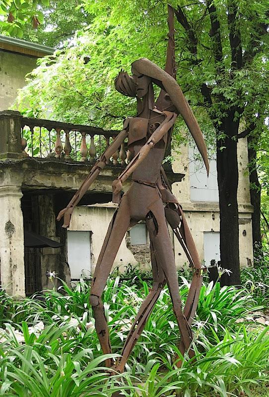 metal sculpture inside Fort Santiago