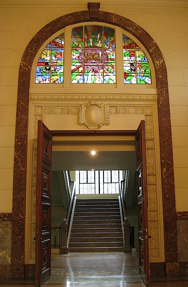arched doorway with stained glass at the Museum of the Filipino People