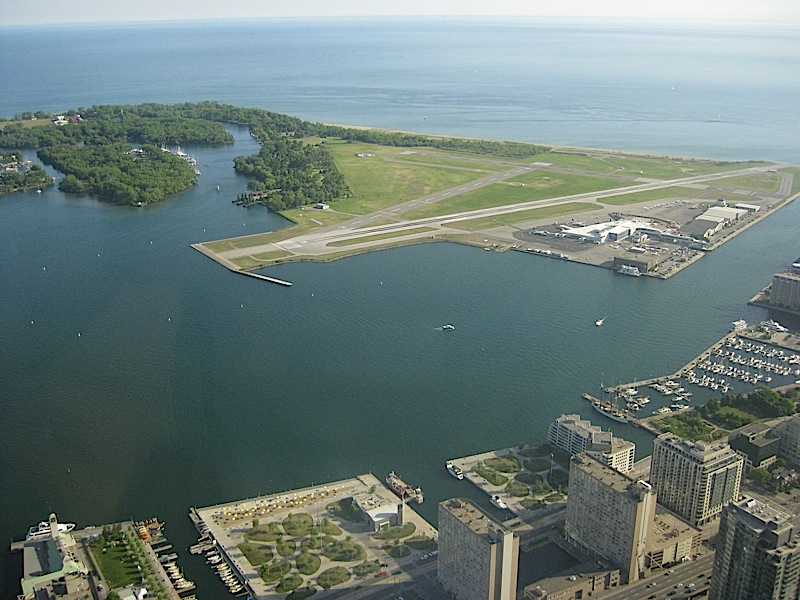 view of Toronto Islands from the CN Tower