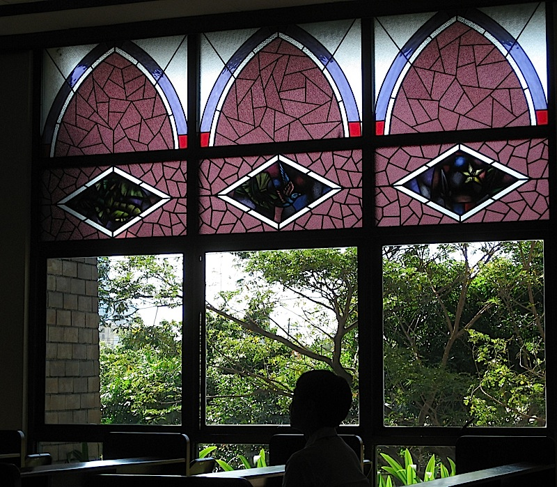 stained glass windows in the Chapel of St. Thomas More in the Ateneo Professional Schools