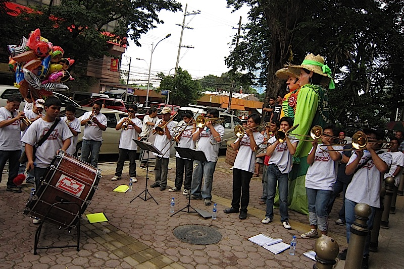 brass band at the opening of Buddy's restaurant along Timog Avenue
