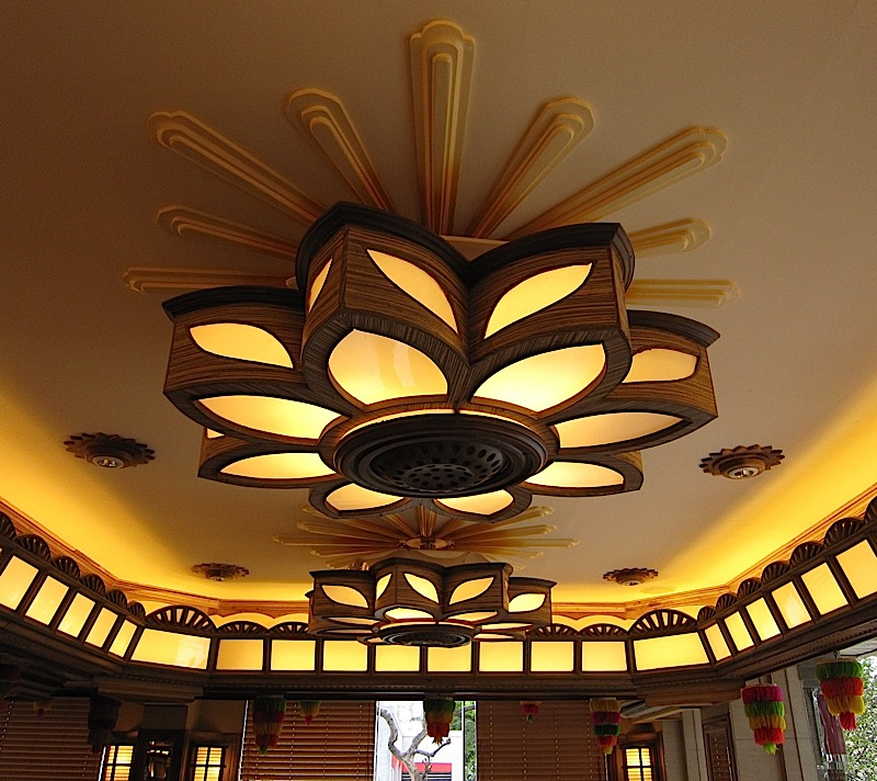flower-shaped light fixtures in Buddy's restaurant along Timog Avenue