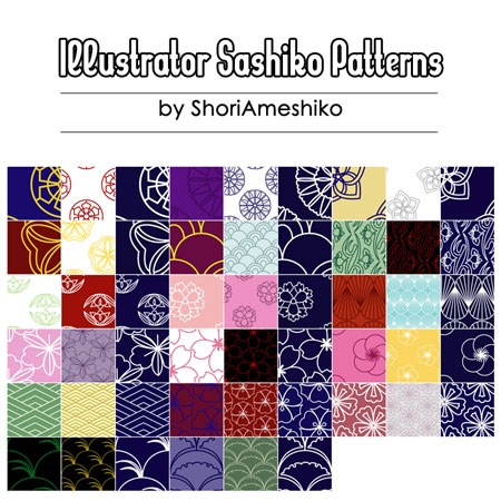 Illustrator_Sashiko_Patterns_by_ShoriAmeshiko