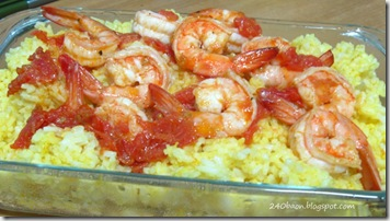 tomato shrimps and turmeric rice, by 240baon