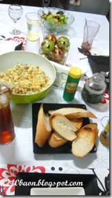 dinner spread with creamy dory pasta, by 240baon