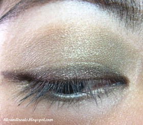 maybelline brown gel eyeliner and nichido enchanted green stardust palette EOTD, by bitsandtreats