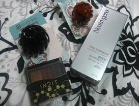 beauty bar hair accessories, neutrogena fine fairness sunblock and in2it brow powder, by bitsandtreats