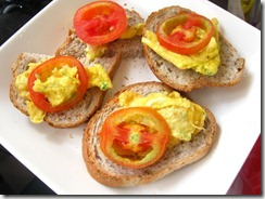 egg and tomato open faced sandwich, by bitsandtreats