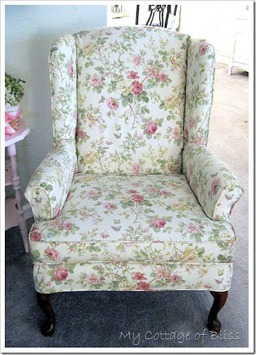 In Addition To The White Slipcovers For My Sofa And Loveseat, I Also Had  Calico Corners Make A Floral Slipcover For A Wingback Chair In The Living  Room.