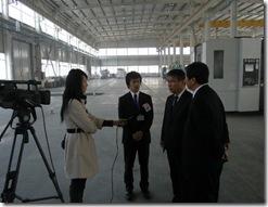 鄭州テレビの取材